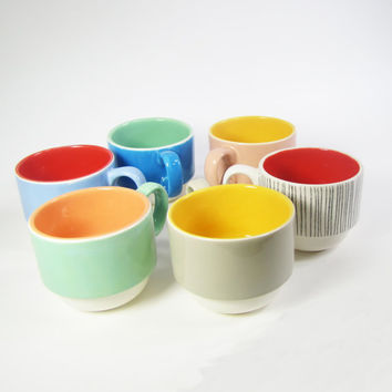 "Hand Painted ""Colorblock"" Stackable Mug - Taupe/Canary"