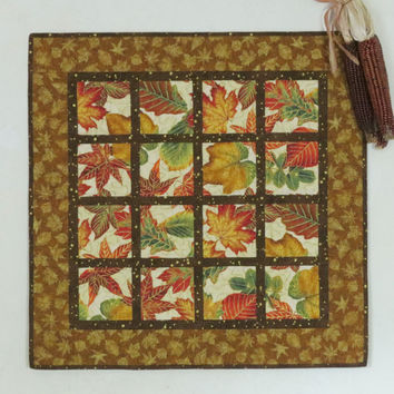 Quilted Fall Wall Hanging Table Topper- Autumn Leaves 510
