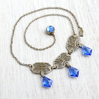 Vintage Art Deco Blue Crystal Necklace -  Antique 1930s Collar Filigree Dangle Glass Silver Tone Costume Jewelry / Electric Blue Drop