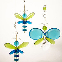 Blue Butterfly Mobile Crystal Suncatcher Green Butterfly Ornament Glass Mobile Kids Fairy Mobile Whimsical Crystal Butterfly Hanging Decor