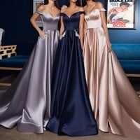 Sexy Off the Shoulder Navy Blue Satin Long Prom Dress with Pockets Champagne Evening Dress from prom dress