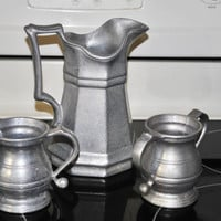 Vintage RWP Pewter Coffee/Tea Pitcher With Creamer and Sugar Bowl,