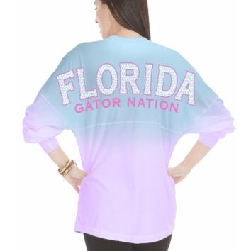 Official NCAA University of Florida Gators The Orange and Blue GATOR NATION! Long Sleeve Ombre Spirit Wear Jersey T-Shirt