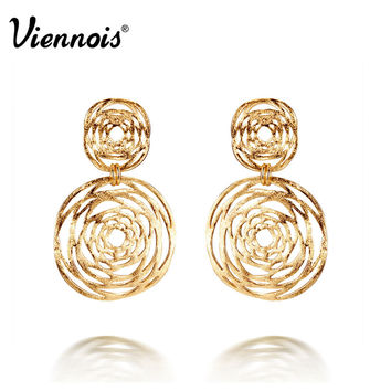 Viennois Fashion Jewelry Gold Plated Double Hollow Out Circle Cross Dangle Earrings Gift For Women New