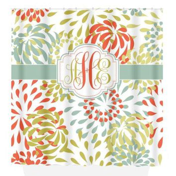 Monogram SHOWER CURTAIN, Floral Pattern, Custom Colors, Personalized Bathroom, Flower Decor Bath, Bath Towel,  Bath Mat, Choose Colors
