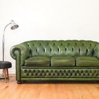 Vintage Green Leather Chesterfield Sofa - Winchester Made in England