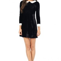 Wednesday Black Velvet Peter Pan Collar Dress