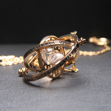 Trendy Harry Potter Time Turner Necklace Hermione Granger Rotating Spins Gold Hourglass for Gift-Christmas gifts