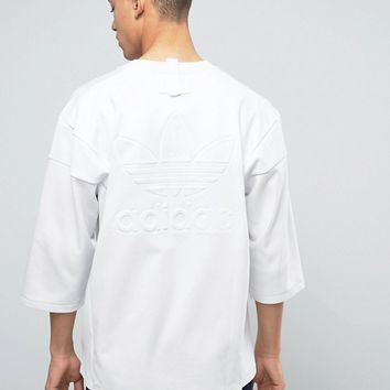 adidas Originals New York Pack 3/4 Sleeve T-Shirt In White BJ9992 at asos.com