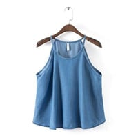 WT104 New Fashion Ladies' elegant sexy blue denim blouses vintage crop halter sleeveless shirts casual loose brand tops