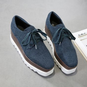 Brand Canvas Flat Platform Autumn Shoe Woman Round Toe Lace-Up Platform Oxford Shoes For Women 2017 New Fashion Creepers