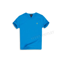 Polo Ralph Lauren T Shirt V Neck Carribean Blue