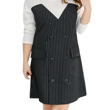 Streetstyle  Casual Double Breasted Vertical Striped Plus Size Bodycon Dress