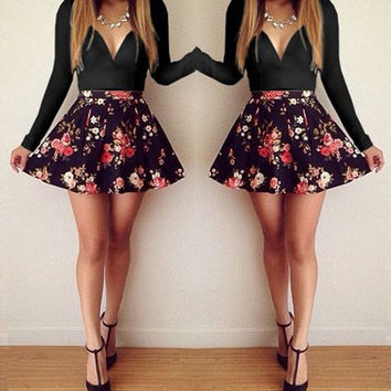 Black Long Sleeve Floral Print Black Mini Dress