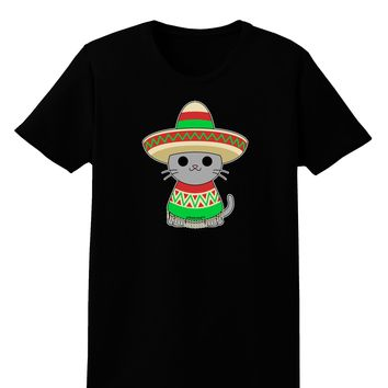 Cat with Sombrero and Poncho Womens Dark T-Shirt by TooLoud