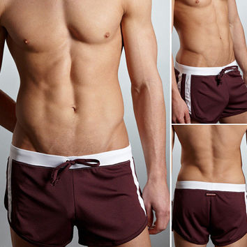 Stylish Simple Design Gym Brown Shorts [6541464259]