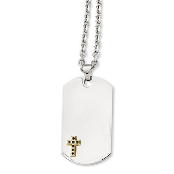 Stainless Steel 14k Gold w/Sapphires Cross Dog Tag Necklace