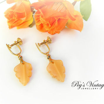 Unique Vintage Jade Earrings/Pumpkin Orange Jade Carved Leaf/Screw On Earrings