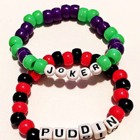 Kandi bracelets- Joker and Harley Quinn Beaded Bracelets- Set of 2- Joker Costume, Harley Quinn Costume, Suicide Squad Costume