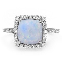 Kay - 1/8 Ct. tw Diamond Lab-Created Opal Ring Sterling Silver