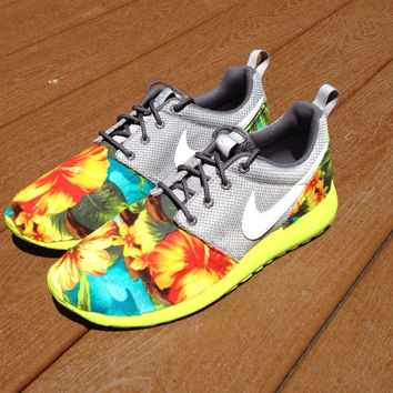 pretty nice c9bbc 10aab Custom Palm Trees and Hibiscus Roshe ( FAST SHIPPING )