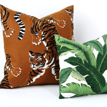 "One ""Le Tigre"" Tropical Jungle Tiger Pillow Cover Safari Large Pillow cover Martinique Scalamadre Style 24x24 26x26 Asian pillow cover-6W9E"