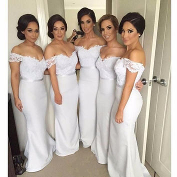 Formal Gowns Wedding Party Dress for Bridesmaid Sleeveless 2016 Sexy Off the Shoulder Long Lace Bridesmaids Dresses 0754