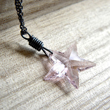 Pink Star Necklace Rose Swarovski Crystal Star by GlitzGlitter