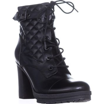 G by Guess Gift Platform Lace-Up Ankle Boots, Black, 8.5 US