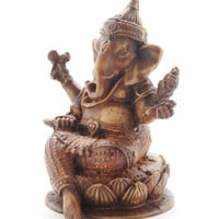 "4"" Resin Ganesha Statue - Brown"