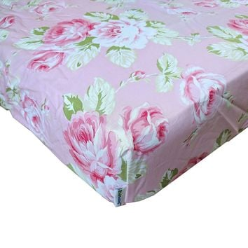 Sunshine Roses Pink Floral Fitted Crib Sheet - Fits Standard Crib Mattresses and Daybeds