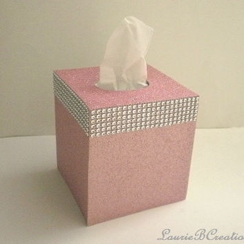 GLITTER & DIAMOND WRAP Tissue Box Covers in Sparkling Fine Glitter - Rose/Blush Pink or a Variety of Colors With or Without Diamond Wrap
