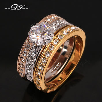 Anti Allergy 3 Rounds CZ Diamond Paved Engagement Rings Sets Rose Gold Plated Crystal Wedding Jewelry For Women Anel DFR107