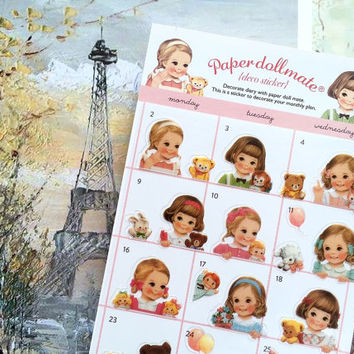 adorable toddler girl deco sticker sweet girl retro toy teddy bear Paper doll mate brown hair Vintage dolly blonde hair classic doll gift