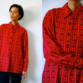 Vtg Retro Printed Red & Black Oversize Button Down LS Shirt