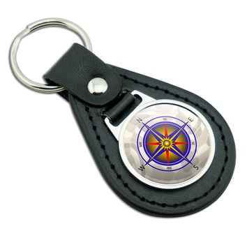 Compass Nautical North South East West Black Leather Keychain
