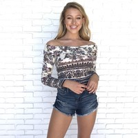 Folk Print Off Shoulder Floral Top