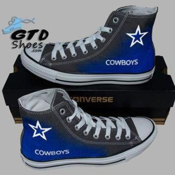 DCCK1IN hand painted converse hi dallas cowboys football superbowl charcoal grey handpain