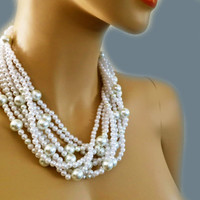 Chunky Pearl Necklace with different size pearls, Layered Pearl Necklace for Brides Bridesmaids