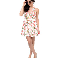 White & Coral Floral Halter Mini Fit & Flare Dress