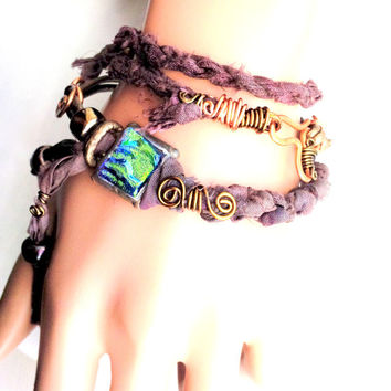 Sari Silk and Leather Wrap Bracelet Fused Dichroic Glass Renaissance Jewelry