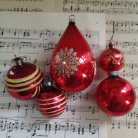 Bright crimson red with gold accents vintage shiny brite ornaments
