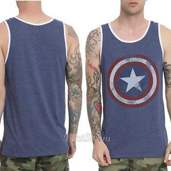 Licensed cool Marvel AVENGERS Captain America Logo Shield Men's Tank Top Shirt WINTER SOLDIER