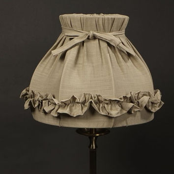 Shabby Chic Ruffled Linen Lampshade - Medium Lamp size. Vintage/Antique Style Lampshade -