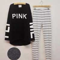 "( 2 Pcs ) "" Pink "" Printed Comfortable Cotton Everyday Wear Loose Long Long Sleeve Pajamas Sleepwear Home wear Shirt Blouse Pants Set _ 9315"