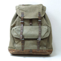 SWISS ARMY BACKPACK 1955, Vintage Military Leather and Canvas Bag, 'Salt & Pepper' Fabric, Large Rugged Men's Rucksack from Switzerland