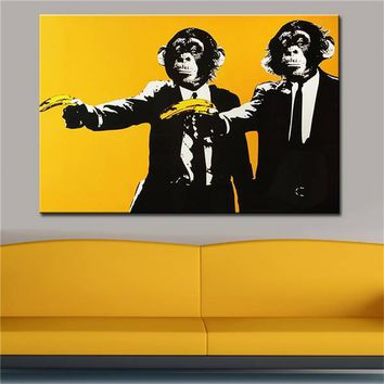 Pop Art Wall Art: Monkeys Banana Gun Print Wall Art on Canvas
