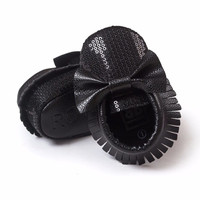 Black Sequin Bow Faux Leather Moccs