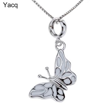Yacq 925 Sterling Silver Butterfly Necklace Pendant W Chain Birthday Party Jewelry Gifts for Women Girls Daughters Her Wife HN08