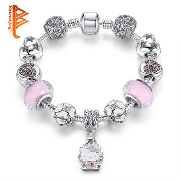 Valentine's Gift Murano Glass&Crystal Bead Fit Original Kitty Charm Bracelets Bangles For Women Girls Lovely Fashion Jewelry